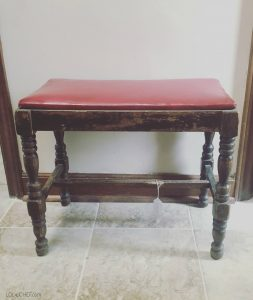 DIY stool makeover turn an old footstool into a pretty piece of accent furniture.